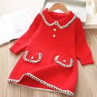 Clothing Baby 20328p Winter Fleece Infant Girls' Dresses Kids Clothing Dress Red Button Princess Party Fashion Baby Clothes Wholesale
