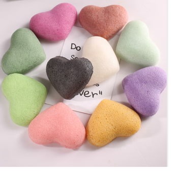 K004 Raw Heart shape super soft konjac sponge manufacturers customized
