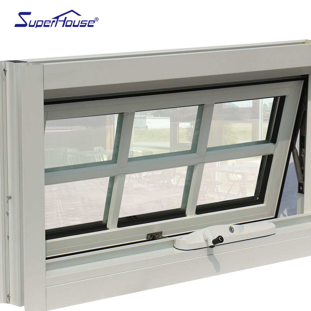 Australia chain winder with aluminum grill double toughened glass awning window