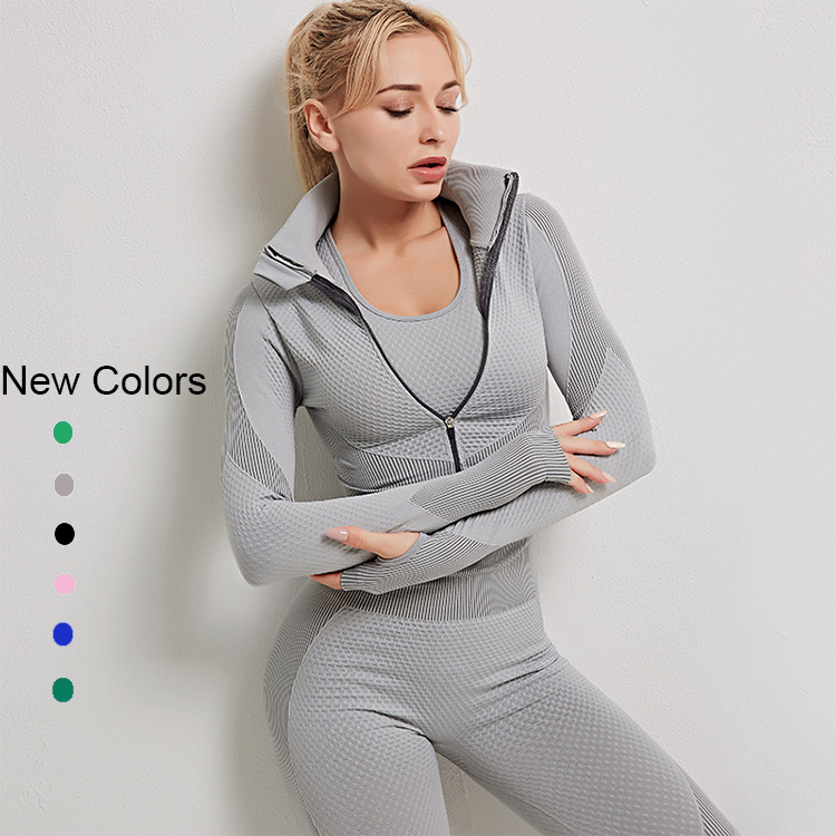 2020 New Arrival High Waist <strong>Sport</strong> Fitness Seamless Activewear Girls Fitness Yoga Wear Long Sleeve Bra Legging Yoga Set with zip