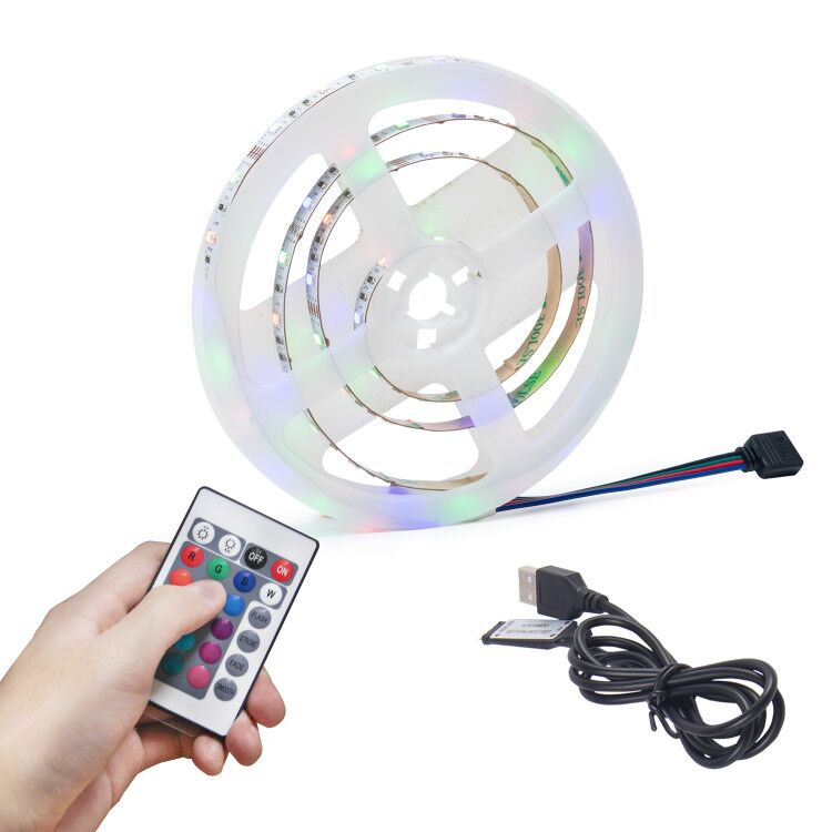 2835 RGB 60LED 5V Remote Control LED Strip Usb Power Led Strip TV Back  Led Strip Rgb 5050 5m Led Inside Car Led Strip Lights