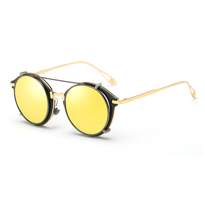 Two in one retro unisex round metal polarized retro glasses clip on sunglasses