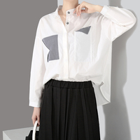 2019 New fashion for women's wear loose stand-up collar casual white shirt with pocket