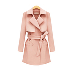 Women coat long sleeve shawl collar trench coat with belt ladies jacket