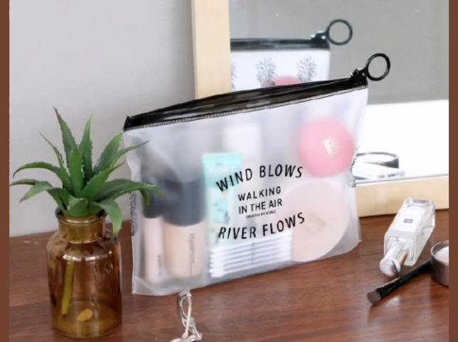 卸売トラベル透明塩ビ化粧品袋カスタムロゴ印刷クリア pvc 化粧バッグ