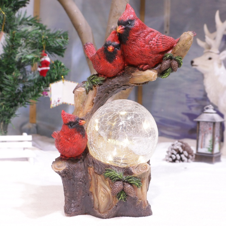 Custom kerst vogel decor staande tak hars rode kardinaal vogel met solar light