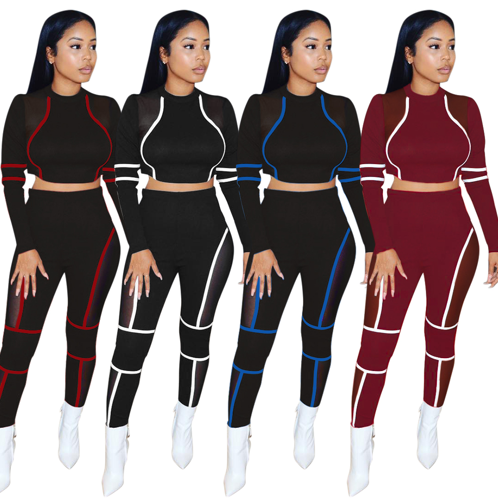 KG2509 Fashion Patch Mesh Short Top And Pants Sport Women's Two Piece Sets Clothing