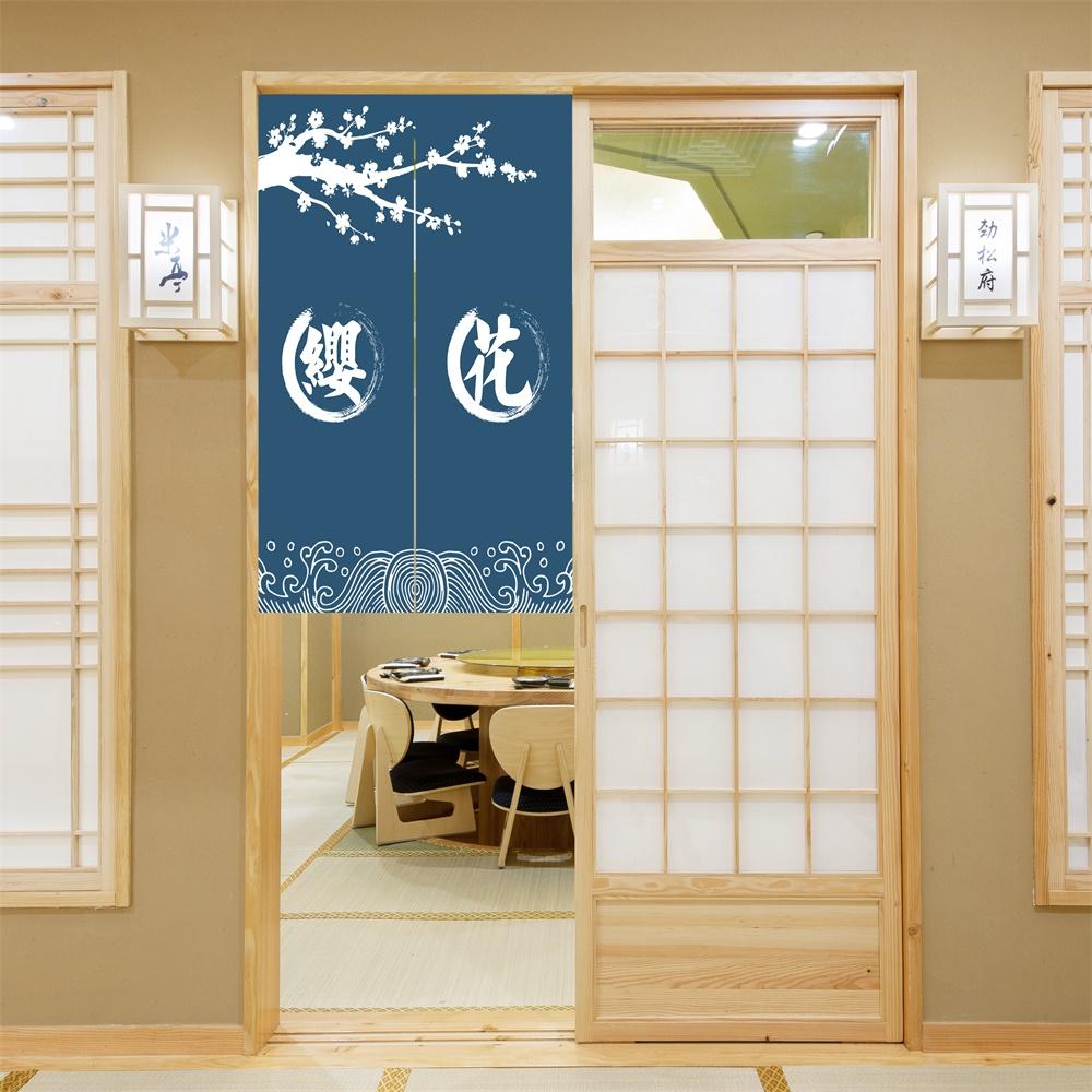 2020 Классическая модная синяя Сакура полуподвесная декоративная дверная занавеска для кухни