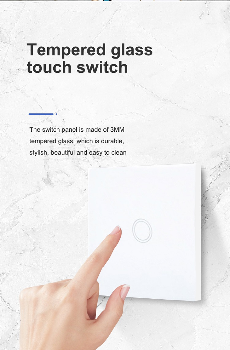 2 Gang Touch Sensor Tempered Glass 10A EU UK Light Switch