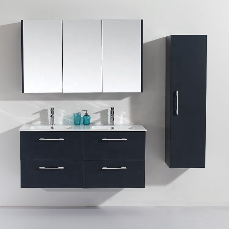 46 Inch Drawers Hanging Double Sink Black MDF Bathroom Cabinet With Side Cabinet