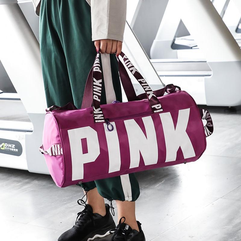 2019 Trendy Custom Logo Outdoor Fashion Ladies Unisex Shoulder Tote Pink Sport Travel Duffel Bag