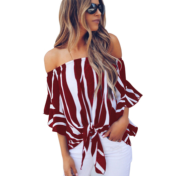 2020 New Fashion Vertical Stripes Blouse Off Shoulder Sexy Women Top