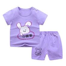 Летняя одежда для маленьких мальчиков и девочек, футболка из 100% хлопка + шорты, 2 шт./компл., милый детский костюм с мультяшным рисунком, удобн...(Китай)