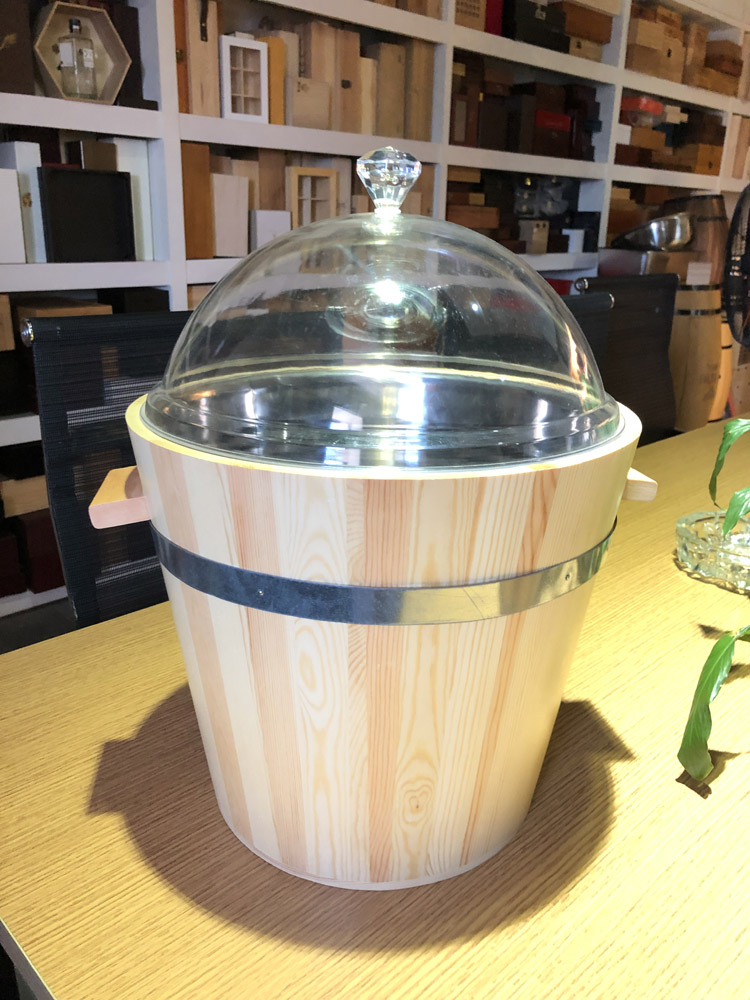 Custom wooden storage bucket with glass cover