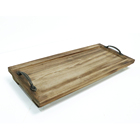 Wholesales rustic distressed wooden hotel coffee and tea tray with stand and metal handles