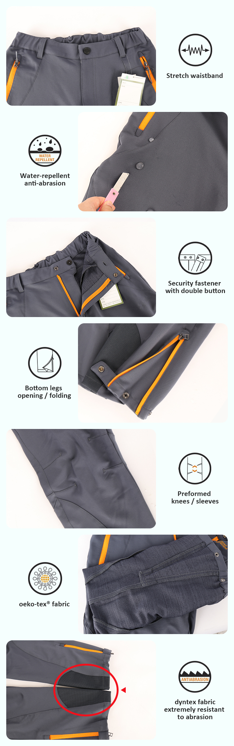 Men's pant mountain custom logo softshell climbing pants waterproof hiking trousers