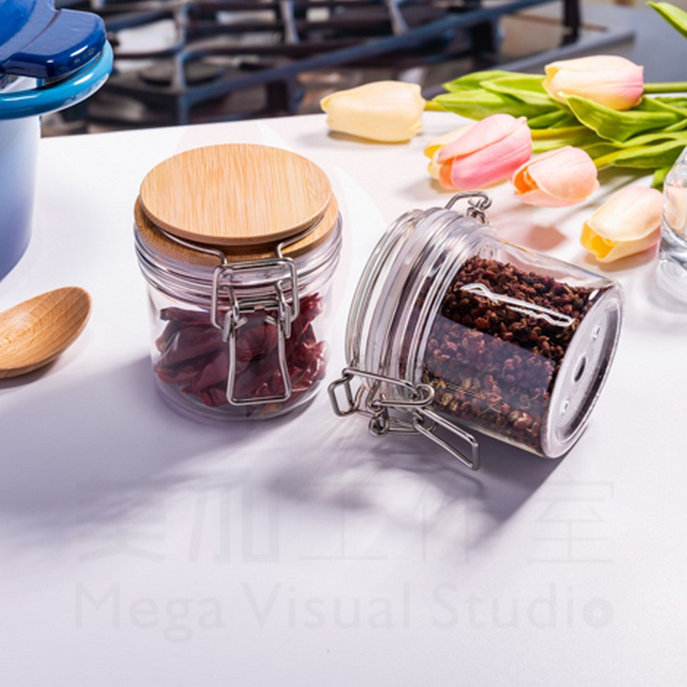 Convenient Practical Sealed Jars Plastic Clear Container Spice Jars Mini Rim Clip Sealed Jars for Storaging Blue