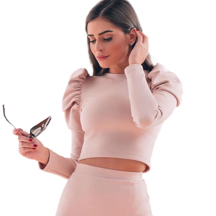 Women elegant Puff sleeve long sleeve blouse new round neck casual T-shirt ladies blouse
