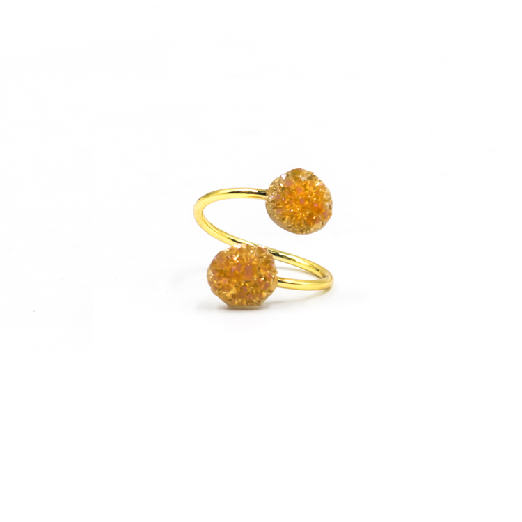 New arrival fashion gold rough gemstone carved druzy rings for women