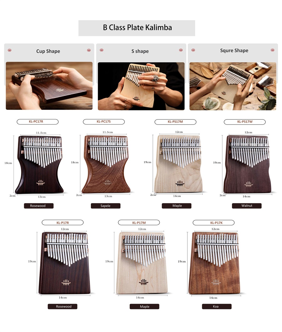 Factory supply kalimba 17 key thumb piano kalimba musical instrument mahogany body