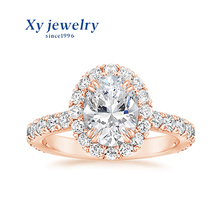 Xygems bijoux DEF vss or <span class=keywords><strong>rose</strong></span> glace pilée coupe moissanite fiançailles amour <span class=keywords><strong>bague</strong></span>