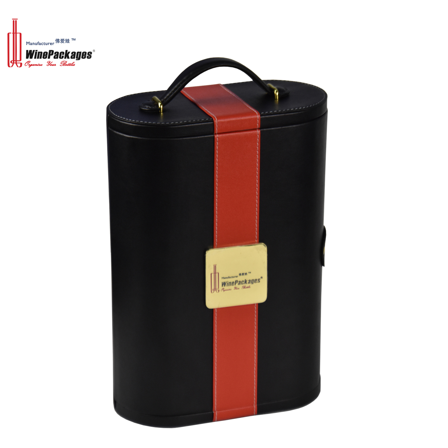Wholesale Double Leather Travel Carrying Champagne Bottle Holder Storage Display Wine Box