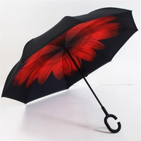 Hot Sell double Layer inverted umbrella Creative innovation windproof Reverse umbrella with C handle