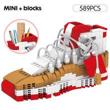 Милая Мини спортивная баскетбольная обувь строительные блоки кроссовки Модель ручка контейнер кирпичи пенал игрушки для детей Канцтовары(Китай)