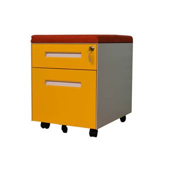 Office equipment colour 2 drawer steel F4 A4 storage mobile pedestal with cushion