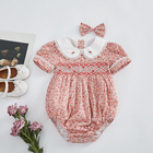 Toddler smocking clothes peter pan collar short sleeve embroidered floral baby girls smocked romper