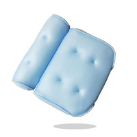 High quality memory soft 3d air mesh washable spa bath pillow with 6 suction cups