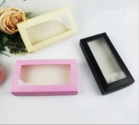 Large Black White Cover Paper Packing Box With Plastic PVC Window Wig Gift Wallet Tie Packaging Paper Carton Box