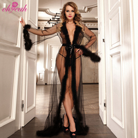 Hot sell long sleeve black lace bride maid sheer robe lingerie feather