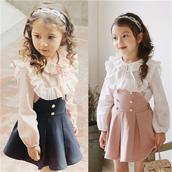 Beautiful Girls Dress + T-Shirt 2 Pieces Set For Wedding Party Child Clothing Princess Baby Kids Autumn 2017 New Arrival Dress