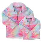 2019 Wholesale Sherpa coat Tie dye Polyester Thick Fleece Sherpa Pullover for Women & Girls