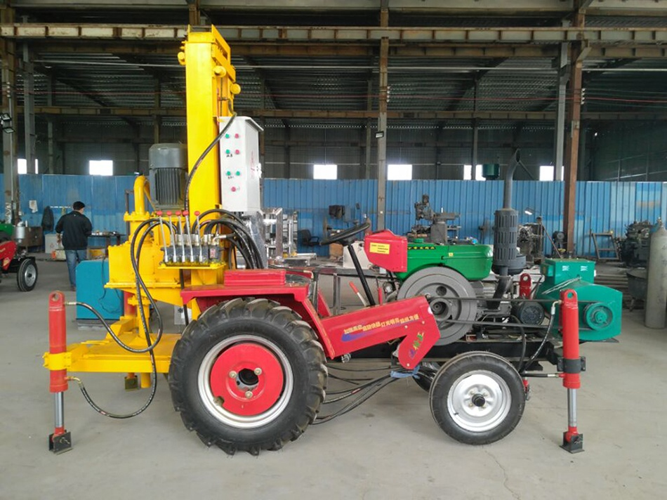 200m Depth Tractor Mounted Portable Drilling Rig For Water Well With Compressor