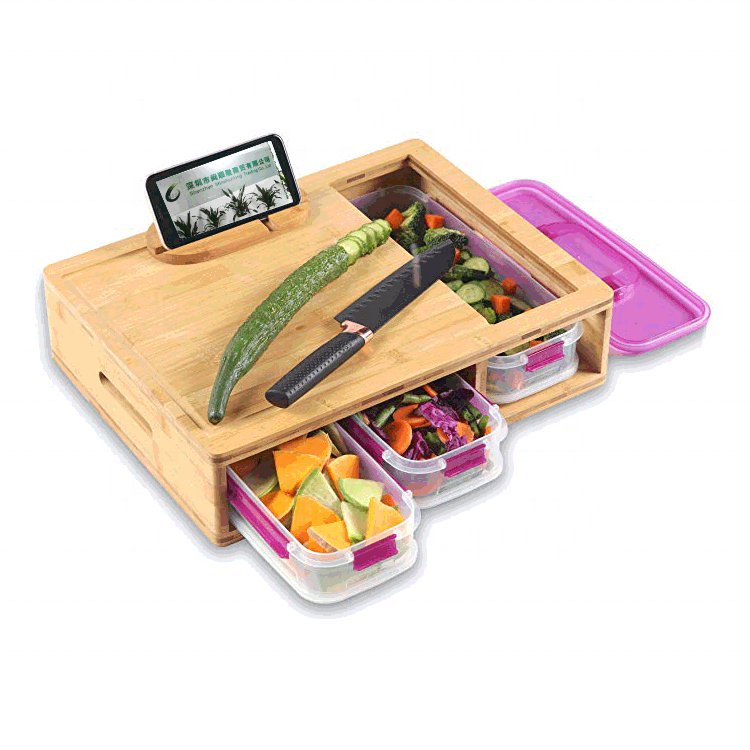 Extra Large Bamboo Cutting Board Set With 3 Trays Drawers Containers Trays And Locking LID For Easy Storage And Transport