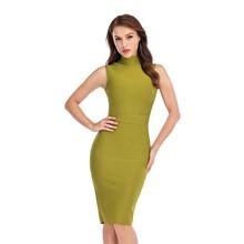Бандажное облегающее Бандажное платье для женщин Vestidos Verano 2020 летнее сексуальное зеленое вечернее платье без рукавов знаменитости(Китай)