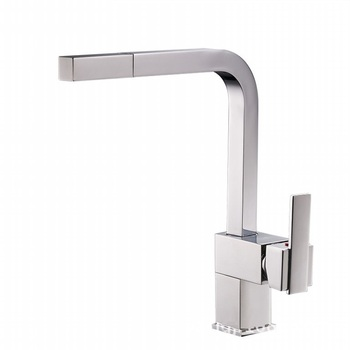 YL3019 Nice quality square type hot cold water faucet brass chrome finish pull out kitchen sink mixer tap