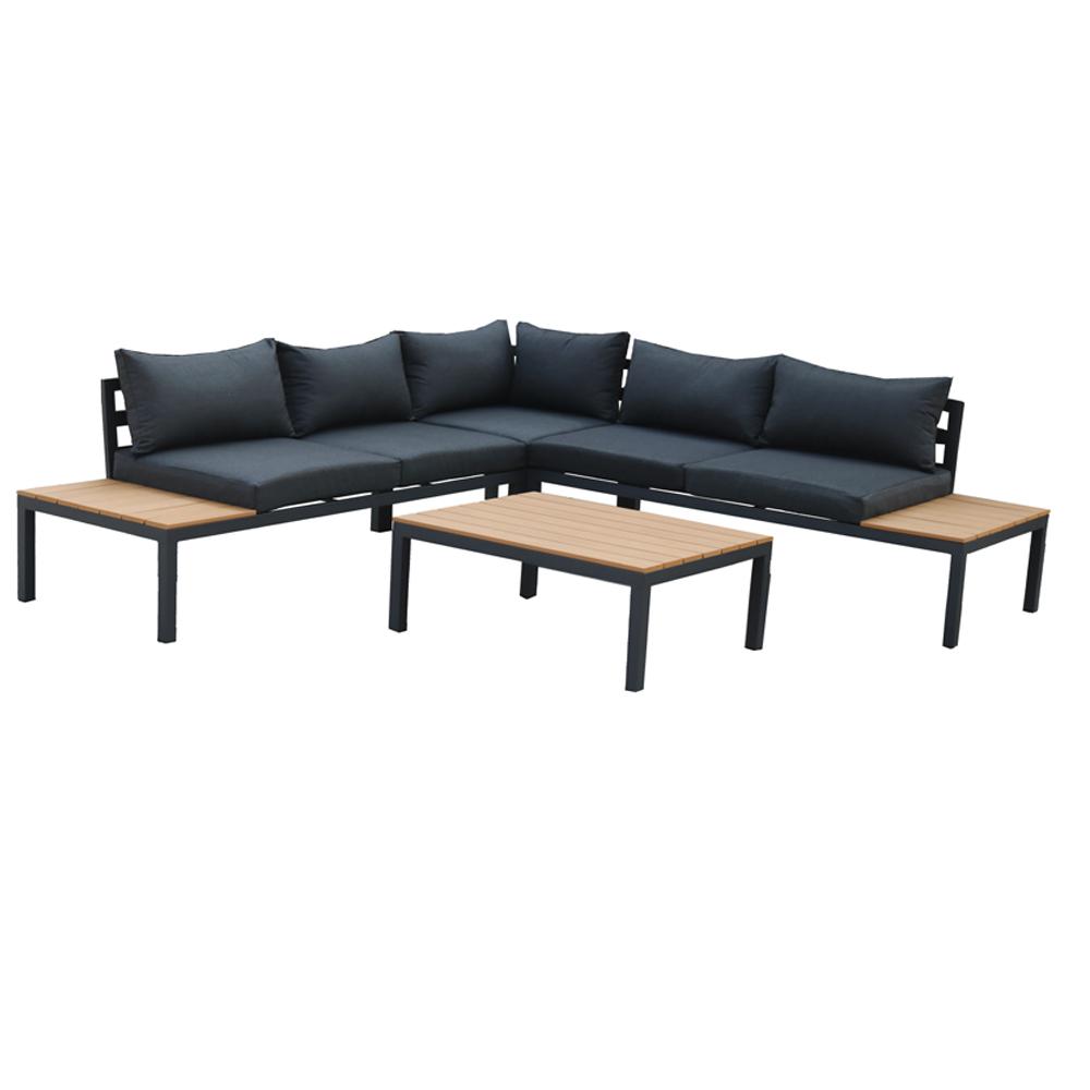 Sofás de exterior modernos, juegos de sofás de aluminio, 4 piezas