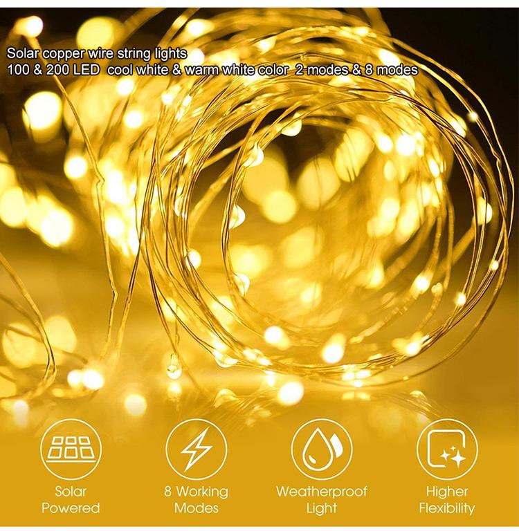 New 100 powered outdoor garden party christmas solar led light string,led solar string light