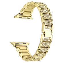Алмазный ремешок для Apple Watch 40 мм 44 мм 38 мм 42 мм для Apple IWatch серии 5 4 3 2 1 браслет часы из нержавеющей стали ремешок для женщин(Китай)