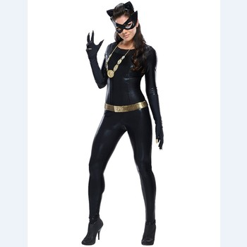 Black zentai / Latex Ladies Cat Woman Costume Black Catsuit Women Fancy Dress Outfit QAWC-8914