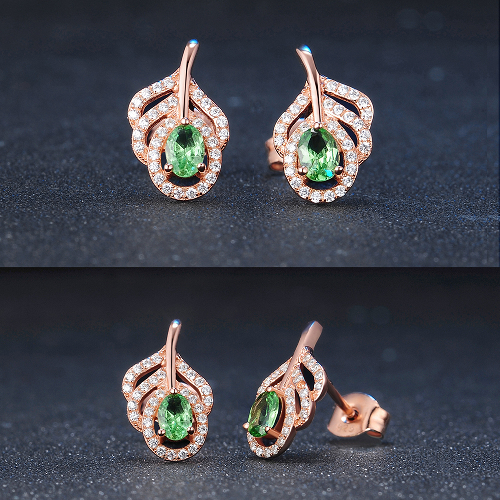 product-2020 New Trendy Peacock Feather Design Peridot Silver Emerald Green Earrings-BEYALY-img