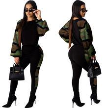 Камуфляжный Леопардовый лоскутный комплект из двух предметов, женский свитер с рукавом-фонариком, топ, брюки-карандаш, костюм, уличная одеж...(Китай)