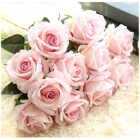 2020 New style velvet artificial flower rose for home decoration Simulation flowers wedding flannelette rose