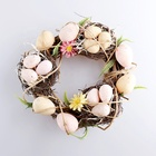 10inch Easter Decorating Easter Wreath Bird's Nest Decoration Artificial Flower Pine for Holiday