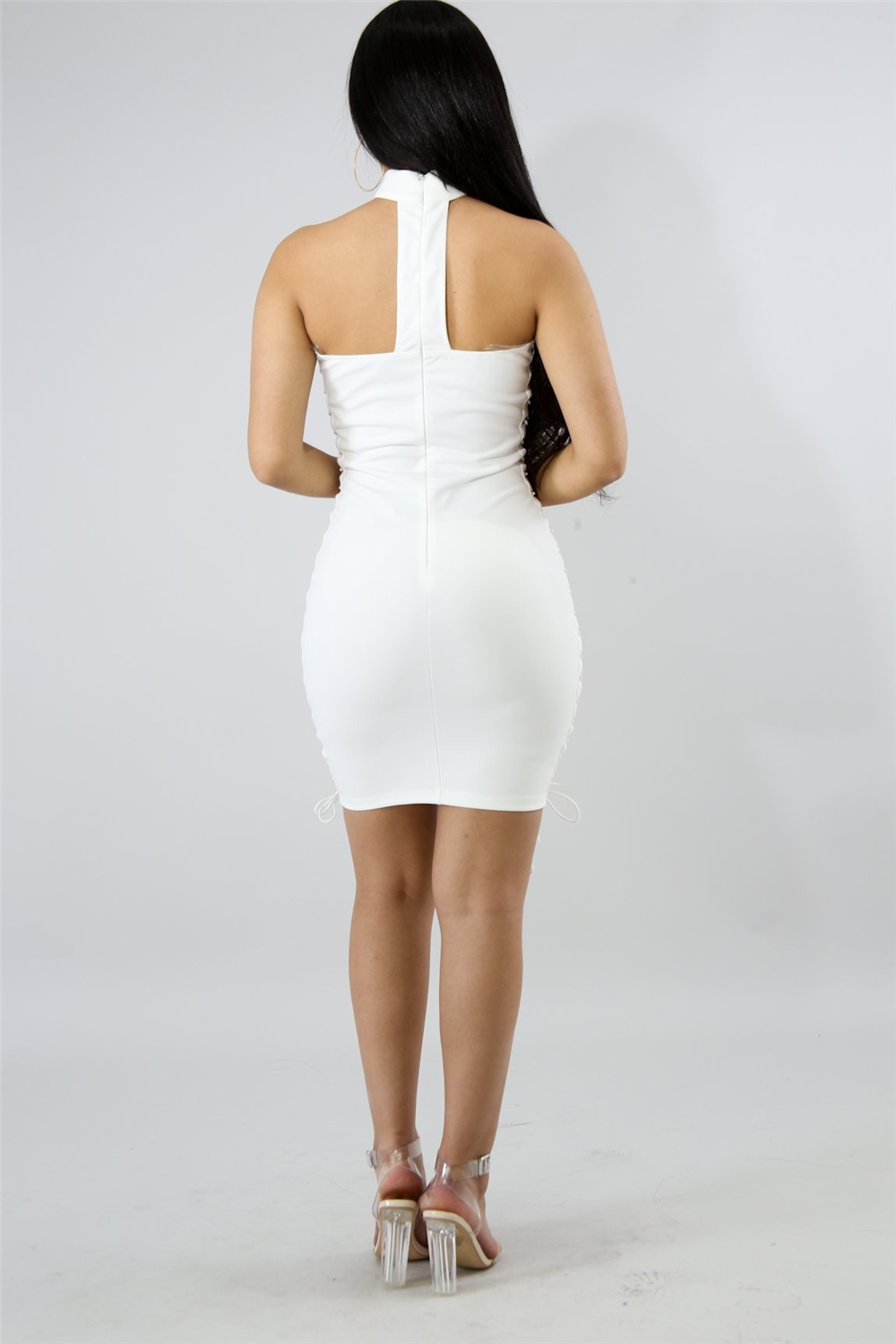 YH summer new European and American fashion side Lou sleeveless tight tight buttocks bandage short section dress banquet dress
