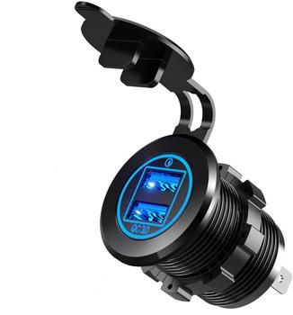 36W Quick Charge 3.0 Dual USB Metal Material Car Charger Socket Waterproof 12V USB Outlet with Blue LED for 12V/24V Marine Boat