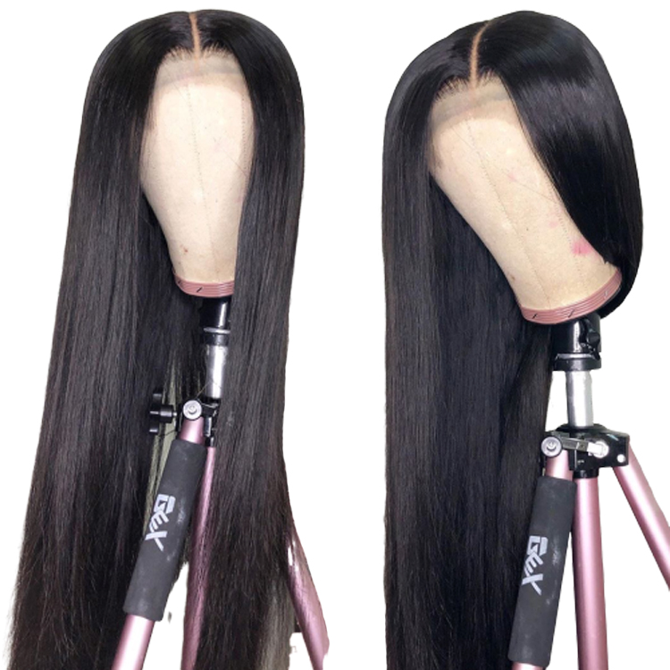 Wholesale Full Lace Straight Human Hair Wig 100% Hand Tied Can Be Bleached High Ponytail Glueless Pre Plucked With Baby Hair